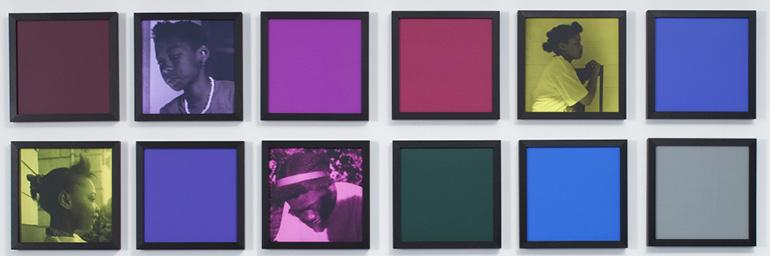 Untitled (Colored People Grid) (detail), 2009–10. Carrie Mae Weems (American, born 1953). Pigment ink prints and colored clay papers; 10 x 10 in. (each). Collection of Rodney M. Miller. © Carrie Mae Weems.