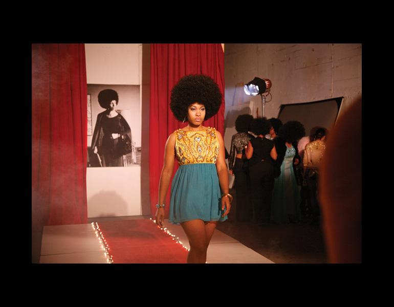 Video still from Afro-Chic, 2010. Carrie Mae Weems (American, born 1953). DVD; 5 mins., 30 secs. Courtesy of the artist and Jack Shainman Gallery, New York. © Carrie Mae Weems.