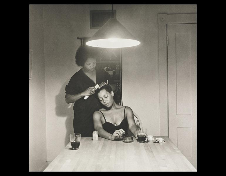 Untitled (Woman Brushing Hair), from Kitchen Table Series, 1990. Carrie Mae Weems (American, born 1953). Platinum print; 20 x 20 in. The Cleveland Museum of Art, Purchase from the J. H. Wade Fund 2008.116.11. © Carrie Mae Weems.
