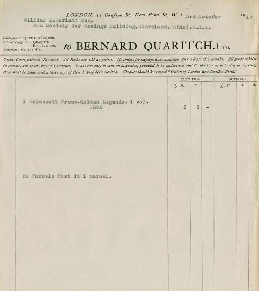 This invoice from prominent London book dealer Bernard Quaritch dated October 3, 1917, provides the only known documentation of the Marlatts' collecting.