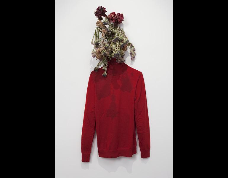 Sister, 2011. Anicka Yi (Korean, b. 1971). Tempura-fried flowers, cotton turtleneck; dimensions variable. Collection Jay Gorney and Tom Heman, New York. Photo: Joerg Lohse.