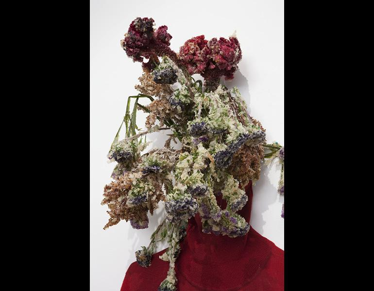 Sister (detail), 2011. Anicka Yi (Korean, b. 1971). Tempura-fried flowers, cotton turtleneck; dimensions variable. Collection Jay Gorney and Tom Heman, New York. Photo: Joerg Lohse.