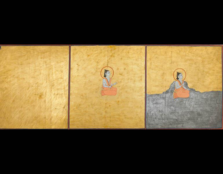 Three Aspects of the Absolute, folio 1 from the Nath Charit, 1823 (Samvat 1880). Bulaki. India, Rajasthan, Jodhpur. Opaque watercolor, gold, and tin alloy on paper; 47 x 123 cm. Mehrangarh Museum Trust RJS2399.