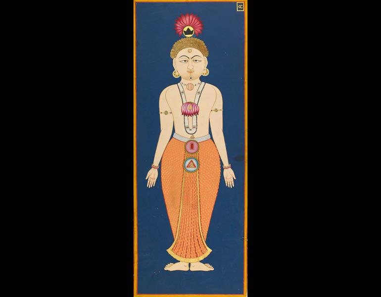 The Chakras of the Subtle Body, folio 4 from the Siddha Siddhanta Paddhati, 1824 (Samvat 1881). Bulaki. India, Rajasthan, Jodhpur. Opaque watercolor and gold on paper; 122 x 46 cm. Mehrangarh Museum Trust RJS 2376.