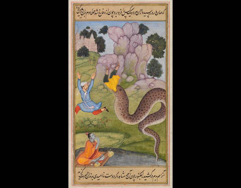 The Prince in Danger from the Mrigavati, 1603–4. Attributed to Haribans. India, Mughal dynasty. Opaque watercolor and gold on paper; 28.3 x 17.5 cm (folio), 15.2 x 9.5 cm (painting). The Trustees of the Chester Beatty Library, Dublin In 37.28a.