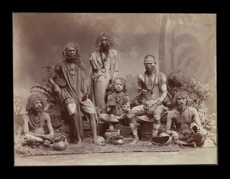 Group of Yogis, c. 1880s. Colin Murray for Bourne & Shepherd. Albumen print; 22.2 x 29.2 cm. Collection of Gloria Katz and Willard Huyck 2011.02.02.0004.