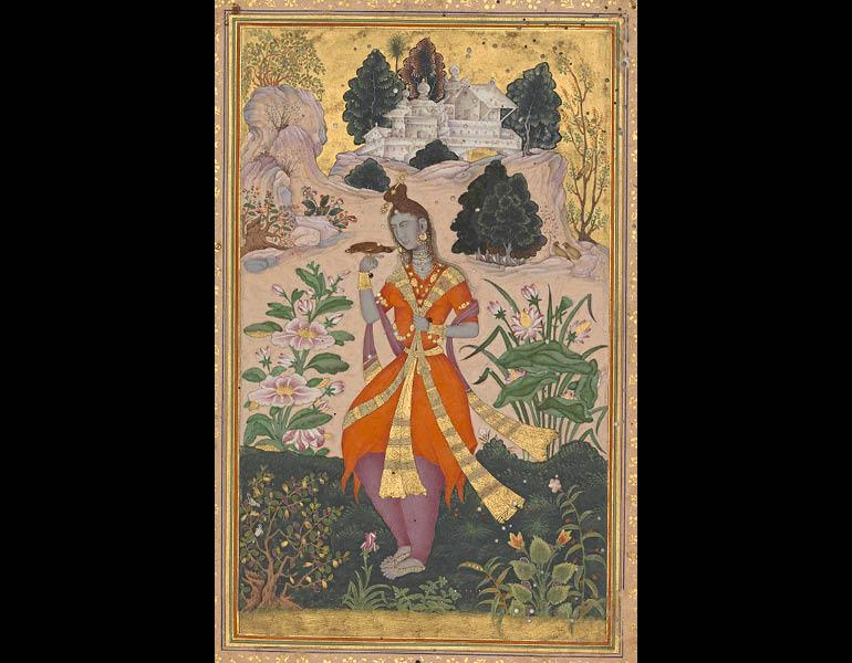 Yogini with Mynah, c. 1603–4. India, Karnataka, Bijapur. Opaque watercolor and gold on paper; 39.2 x 27.6 cm (folio with borders), 19.3 x 11.6 cm (painting without borders). The Trustees of the Chester Beatty Library, Dublin 11a.31.