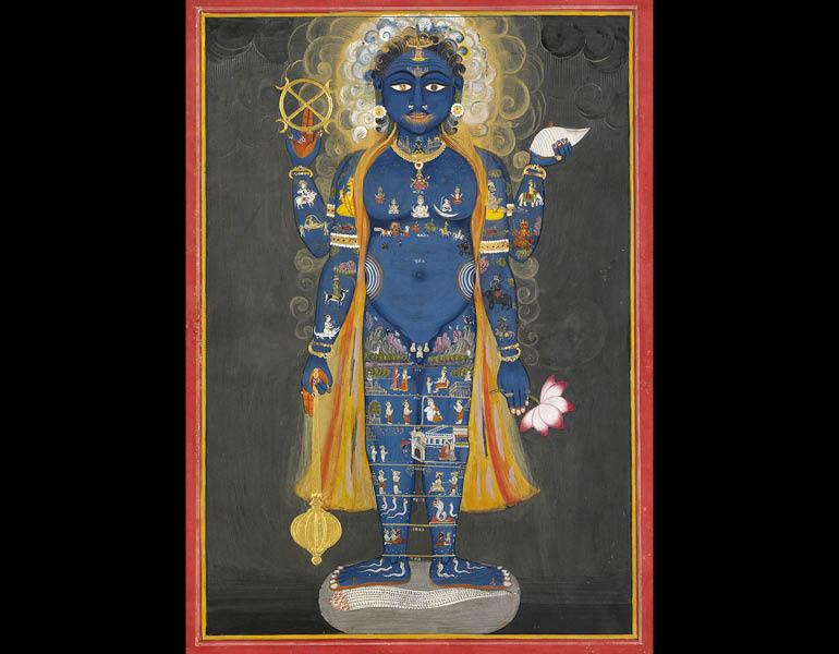 Vishnu Vishvarupa, c. 1800–1820. India, Rajasthan, Jaipur. Opaque watercolor and gold on paper; 38.5 x 28 cm. Victoria and Albert Museum, London, Given by Mrs. Gerald Clark IS.33-2006.