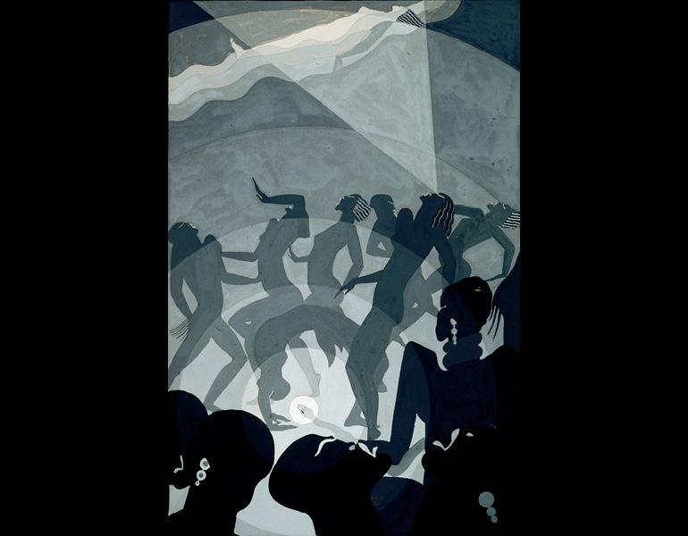 Aaron Douglas (American, 1899–1979). Congo, circa 1928. Gouache and pencil on paper board, 14 3/8 x 9 1/2 in. (36.5 x 24.1 cm). North Carolina Museum of Art, Raleigh, Gift of Susie R. Powell and Franklin R. Anderson