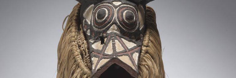 Bush Buffalo Mask, early-mid 1900's. Africa, Western Sudan, possibly Bwa. Wood, fibers; 27-7/16 in. Gift of Katherine C. White 1969.2