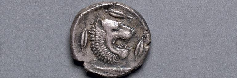 "Tetradrachm - Lion, 466-422 BC. Greece, 5th century BC. Silver; d. 1"" in. John Huntington Art and Polytechnic Trust 1917.988b"
