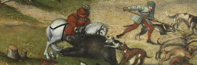 Hunting near Hartenfels Castle, 1540. Lucas Cranach the Elder. Oil on wood; 45-15/16 x 67 in. John L. Severence Fund 1958.425