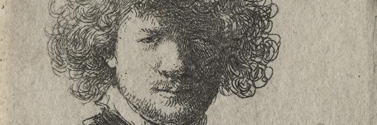 Self-Portrait with curly hair and white collar: Bust, c. 1630. Rembrandt van Rijn (Dutch, 1606-1669). Etching; 5.9 x 5.1 cm. Gift of Leonard C. Hanna Jr. 1947.488