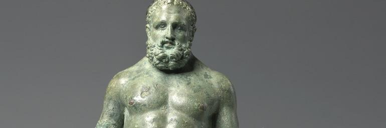 Hercules, c. 30 BC–20. Bronze with silver and copper inlays; 5-11/16 x 3-1/8 in. Purchase from the J.H. Wade Fund 1987.2