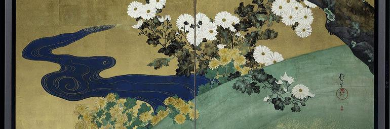 Paulownias and Chrysanthemums, late 1700's-early 1800's. Sakai Hoitsu. Two fold screen; ink and color on gilded paper; 62 x 62-3/8 in. American Foundation for the Maud E. and Warren H. Coming Botanical Collection 1964.386