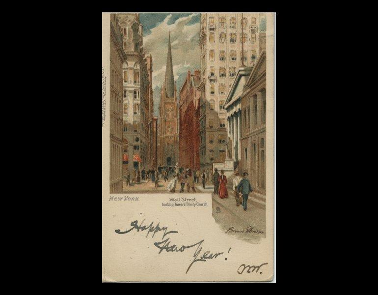 Wall Street Looking toward Trinity Church