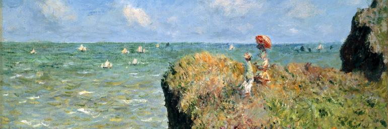 Cliff Walk at Pourville (detail), 1882. Claude Monet (French, 1840–1926). Oil on canvas; 66.4 x 82.4 cm. Mr. and Mrs. Lewis Larned Coburn Memorial Collection, 1933.443, The Art Institute of Chicago. Photography © The Art Institute of Chicago