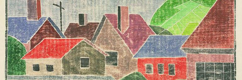 Houses (detail), about 1936. Mabel Hewit (American, 1903–1984). Color woodcut; 23.7 × 35 cm. Gift of Mr. and Mrs. William Jurey in memory of Mabel A. Hewit 2003.366 © Mabel Hewit