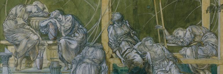 The Garden Court (detail), c. 1869/73. Sir Edward Coley Burne-Jones (British, 1833–1898). Graphite and watercolor, heightened with white gouache; 32.3 x 60.2 cm. The Cleveland Museum of Art, Andrew R. and Martha Holden Jennings Fund 1994.197