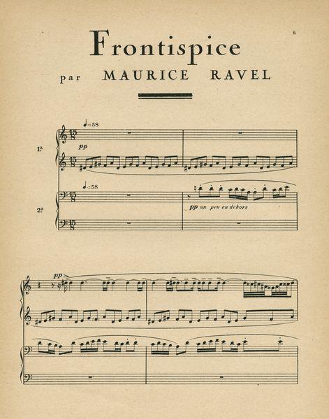 """Les Feuillets d' Art, Volume II, le feuillets de la musique, """"Frontispice"""" par Maurice Ravel, 5. IML 985376"""