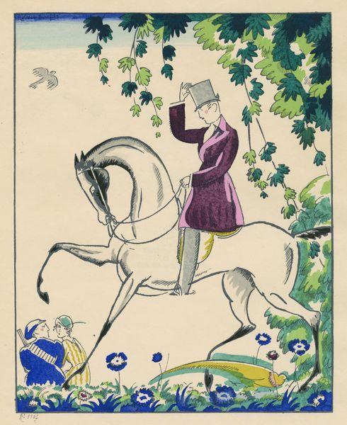 """Les Feuillets d' Art, Volume III, le feuillets de la mode, """"Le Cavalier"""" par Robert Bonfils. IML 985379"""