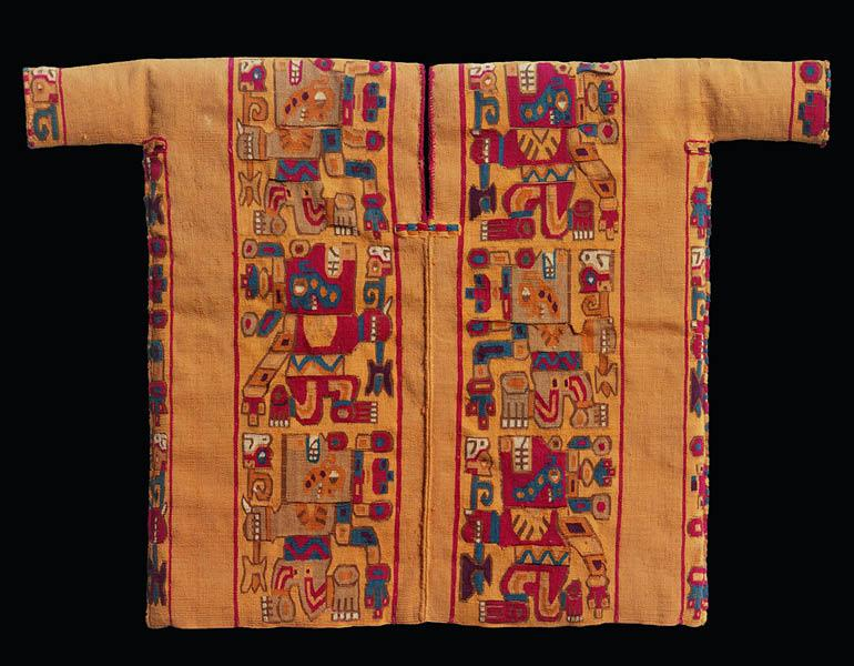 Miniature Tunic with Weapon?-Bearing Creature in Profile, 600–1000. Peru, Wari. Camelid fiber and cotton; 22.1 x 31.8 cm. Brooklyn Museum, New York, Gift of Mr. and Mrs. Alastair B. Martin, the Guennol Collection 71.180
