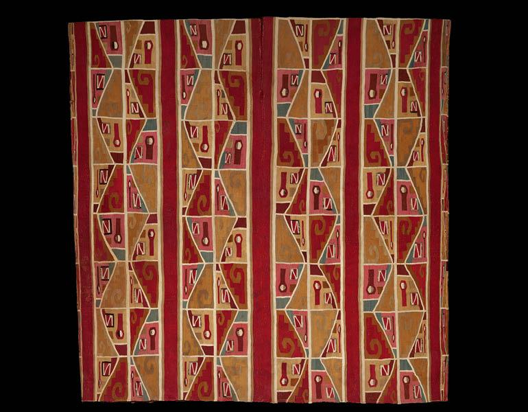 Tunic with Face-Fret Motif, 600–1000. Peru, Wari. Camelid fiber and cotton; 102.2 x 102.2 cm. Dallas Museum of Art, The Eugene and Margaret McDermott Art Fund, Inc., in honor of Carol Robbins's 40th anniversary with the Dallas Museum of Art 2004.55.McD