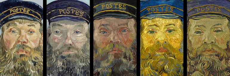 Composite details of five paintings from The Postman series