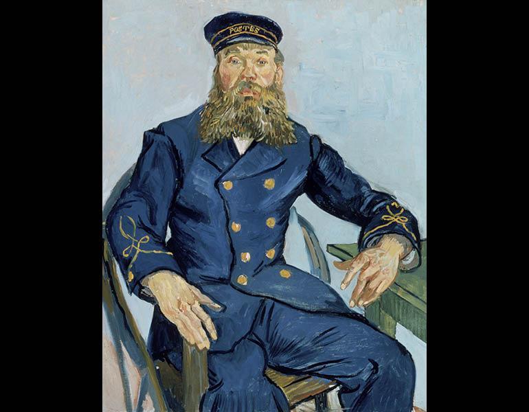 The Postman Joseph Roulin, July 31–August 3, 1888. Vincent van Gogh (Dutch, 1853–1890). Oil on canvas; 81.3 x 65.4 cm. Museum of Fine Arts, Boston, Gift of Robert Treat Paine II 35.1982, F432. Photo © 2014 Museum of Fine Arts, Boston.