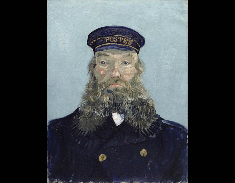 Portrait of Postman Roulin, early August 1888. Vincent van Gogh. Oil on canvas; 64.1 x 47.9 cm. The Detroit Institute of Arts, Gift of Mr. and Mrs. Walter Buhl Ford II 1996.25, F433. The Bridgeman Art Library.