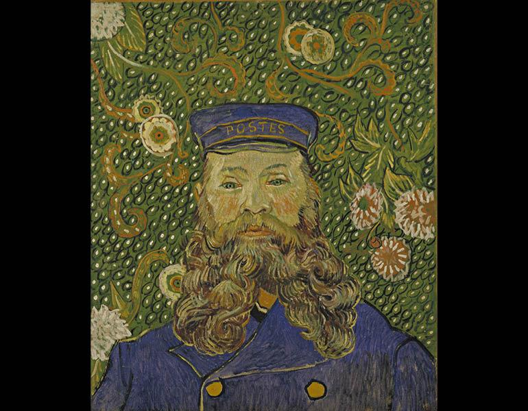Portrait of Joseph Roulin, March 1889. Vincent van Gogh. Oil on canvas; 64.4 × 55.2 cm. Museum of Modern Art, New York, Gift of Mr. and Mrs. William A. M. Burden, Mr. and Mrs. Paul Rosenberg, Nelson A. Rockefeller, Mr. and Mrs. Armand P. Bartos, The Sidne