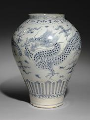 Jar with Dragon Design 백자 청화 운룡무늬 호, 1986.85