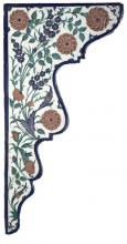 Like this superb ceramic spandrel, tiles on the walls of mosques and the Topkapi Palace are also decorated with real and fanciful flora (Turkey, Iznik, 1570s; frit body with underglaze painting; 76 x 29.9 x 2.5 cm; Dudley P. Allen Fund 2004.70).