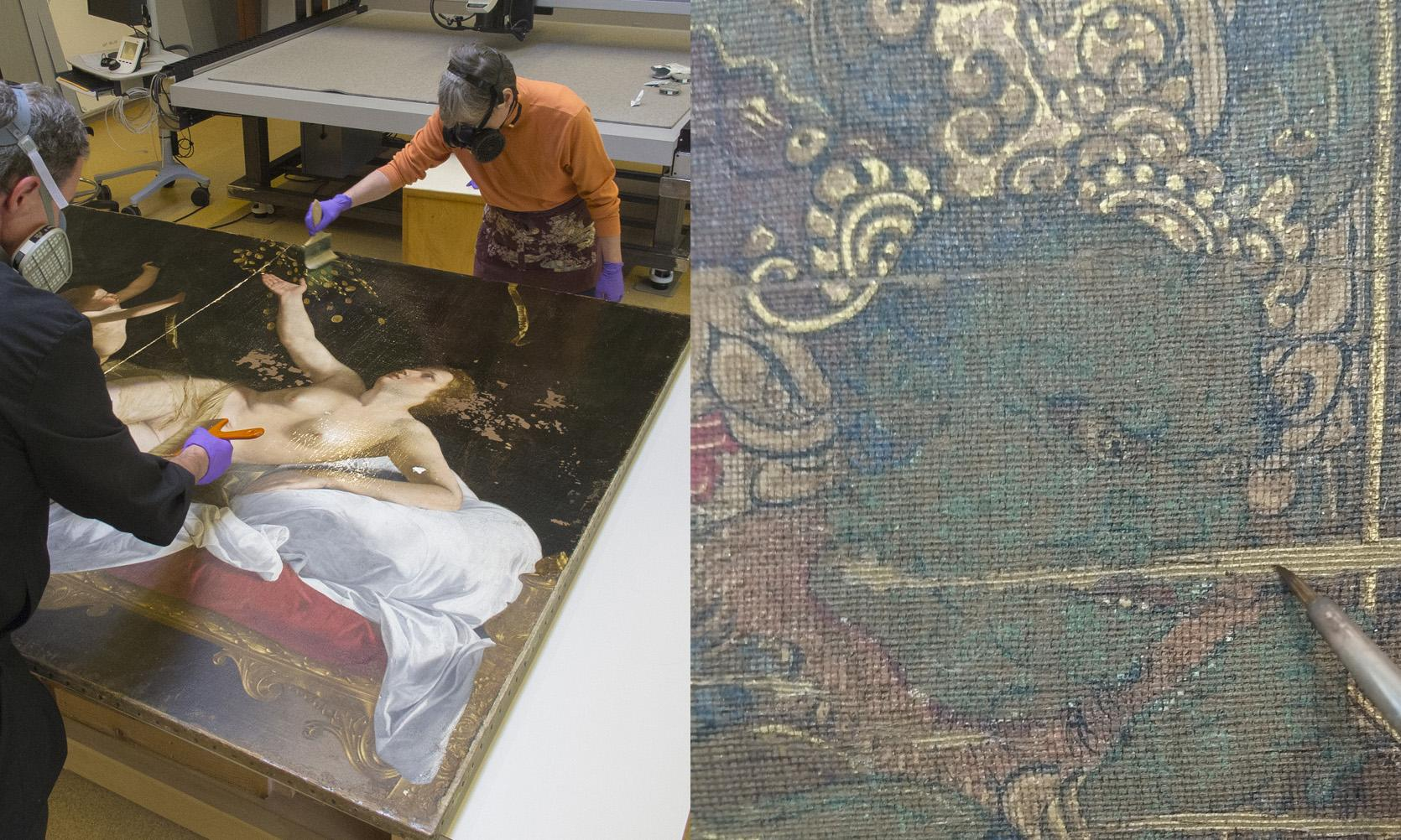 composite of technicians conserving a painting and a close up of a painting