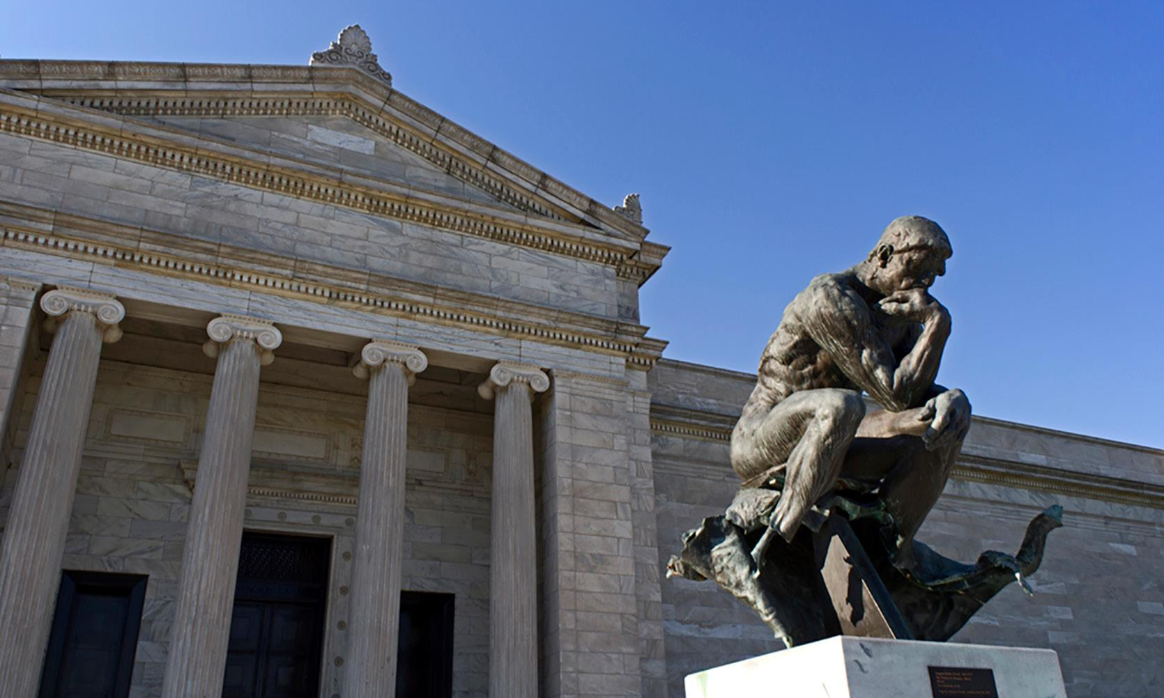 "museum's exterior with Rodin's sculpture, ""The Thinker"""