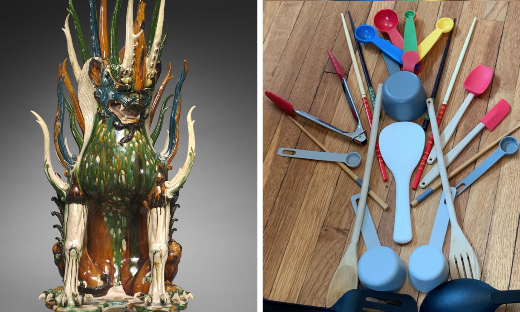 A statue next to a homemade recreation of it with kitchen utensils