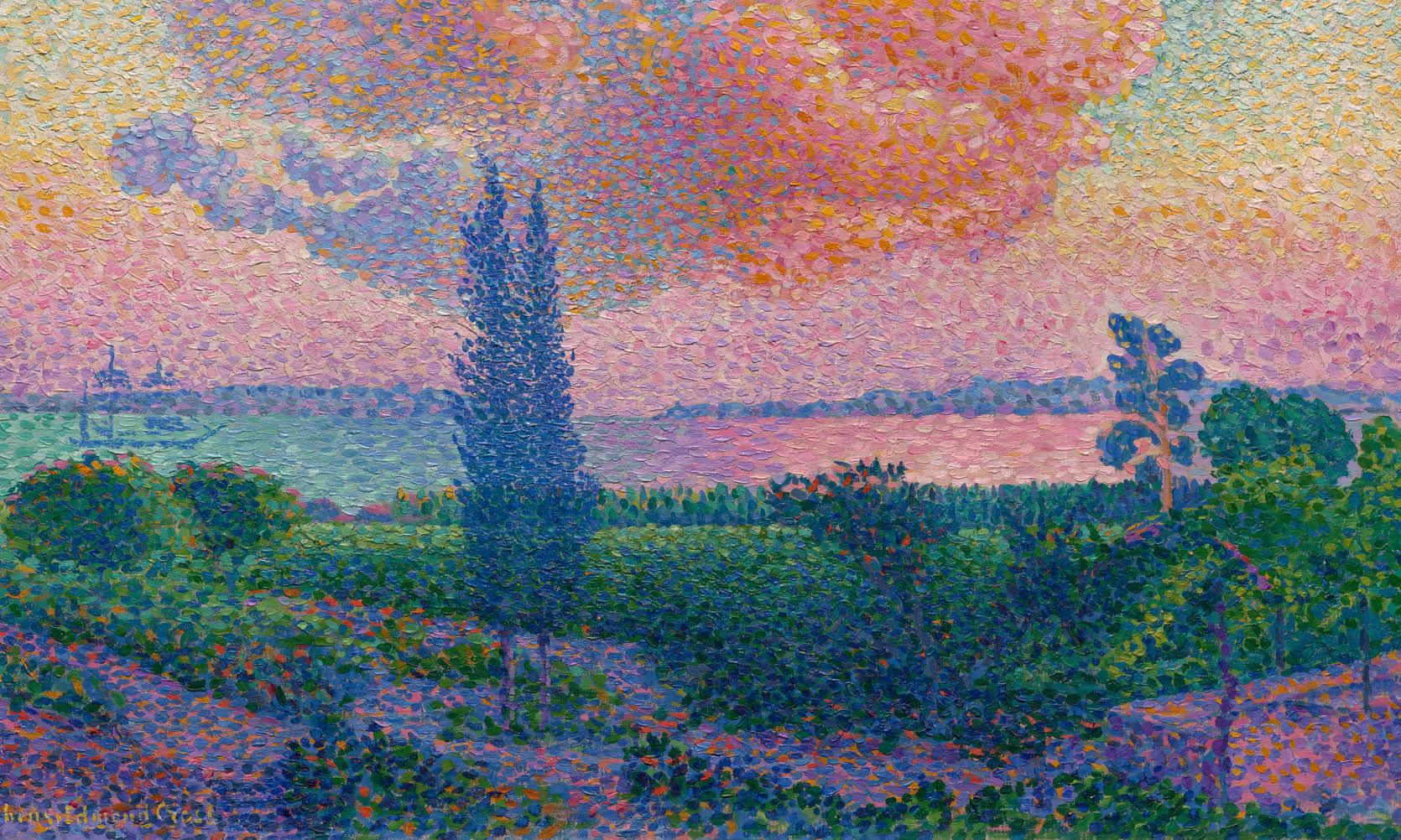 painting titled The Rose Cloud by Henri-Edmond Cross