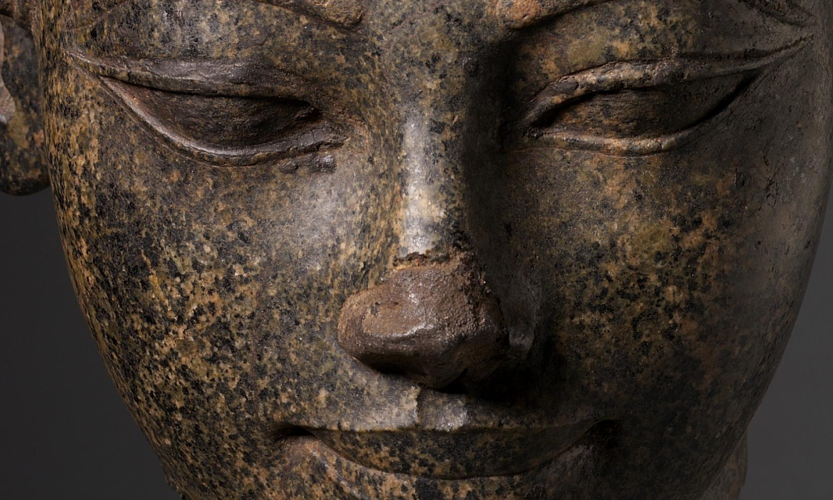 detail of the face of an Egyptian sculpture