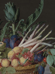 Still Life with Meat, Fish, Vegetables, and Fruit, c. 1615–20. Jacob van Hulsdonck (Flemish, 1582–1647). Oil on panel, the reverse prepared with gesso; 71.5 x 104 cm. The Cleveland Museum of Art, Gift of Janice Hammond and Edward Hemmelgarn, 2018.258