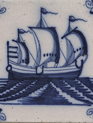 Tile–Ship, c. 1700s. Holland/Netherlands. Educational Purchase Fund, 1929.967
