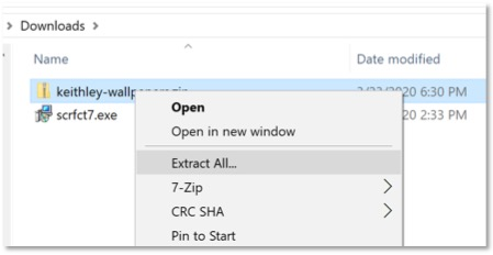"""Options that show up after right clicking a zip folder. """"extract all"""" is selected."""