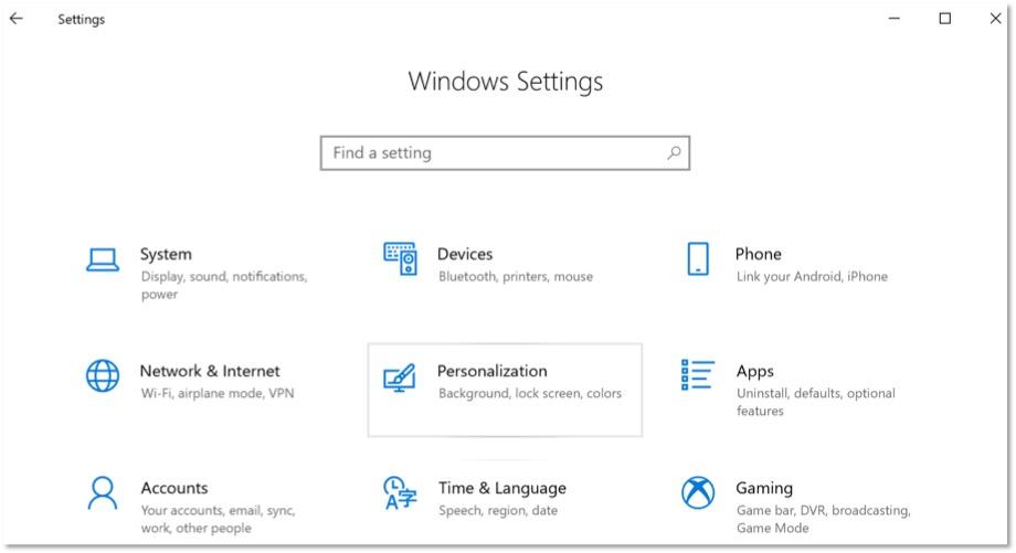 "The Windows settings menu. ""personalization"" is selected."